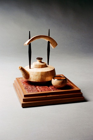 Tea Set, Flame Maple, Jara Burl, Ebony and Walnut