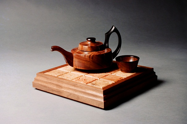 Tea Set, Jara Burl, Ebony, Broad Leaf Maple and Walnut