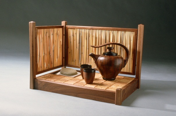 Tea Set, Walnut, Maple Burl, Ebony, Grass Reed