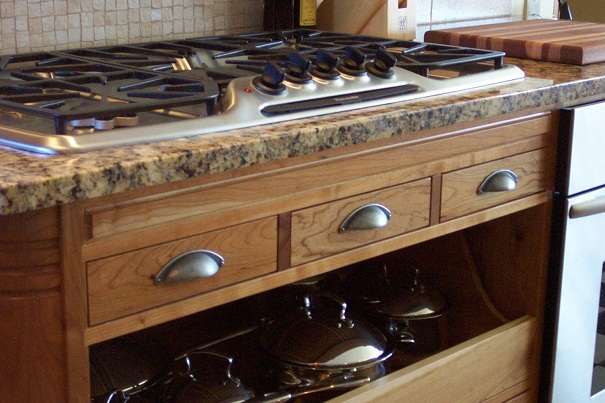 Cook Top Detail, Cherry Cabinets