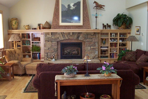 Fireplace and Bookshelves, residence