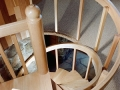Two Story Spiral Staircase, Red Oak